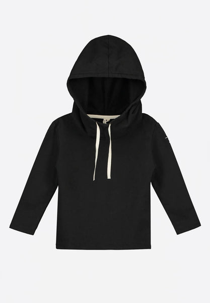 Wide Neck Hooded Sweater Black