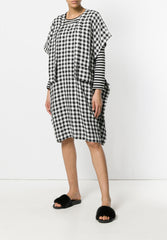 Sheet Dress Linen Black White Checks