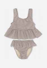Soleil Girls Bikini Striped Bordeaux