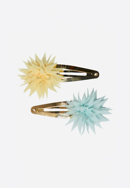 Dahlia Flower Clips Lemon & Ice Mint