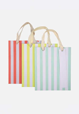 Small Neon Stripes Gift Bags