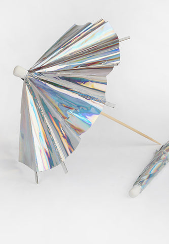 Holographic Silver Cocktail Umbrellas