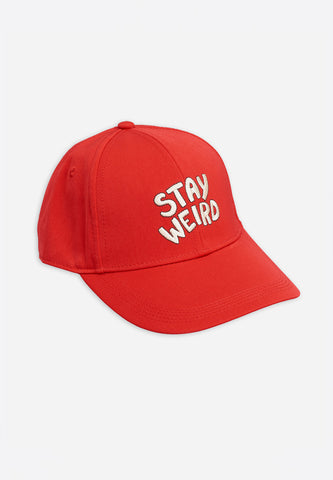Stay Weird Embroidery Cap Red