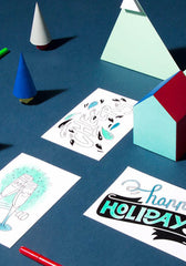Happy Messages Coloring Postcards