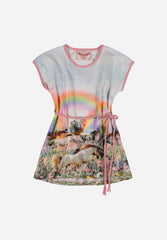 Tee Dress With Plaited Belt Rainbow Horses