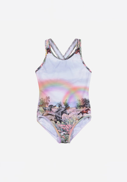 Onepiece With X Over Straps Rainbow Horses