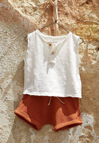 Flamé Jersey Sleeveless T-Shirt Natural