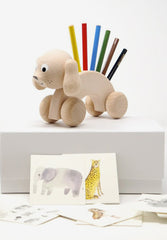 Percival Wooden Dog Pencil Holder