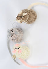 Hand Knitted Mice Trio