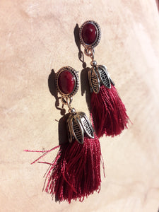 Tassle Earrings Red