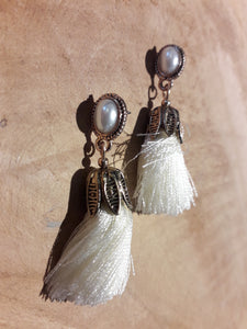 Tassle Pearl Earrings White Gold