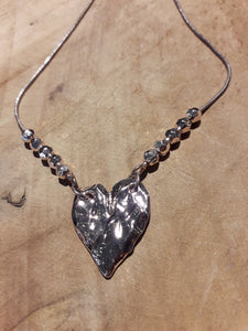 Heart Bead Necklace Rose Gold