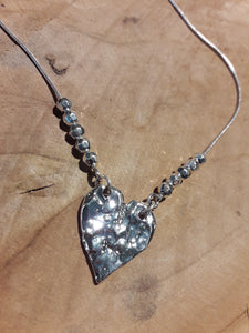 Heart Bead Necklace Silver