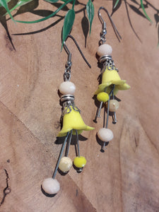 Flower Bell Earrings Yellow