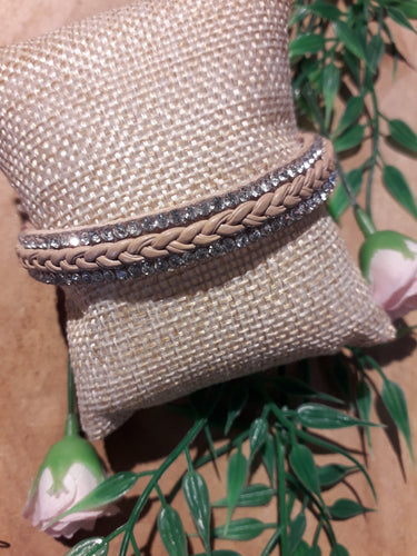 Braid Bling Bracelet Brown