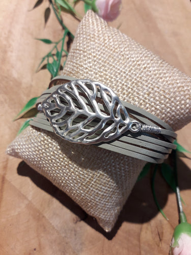 Big Leaf Leather Bracelet