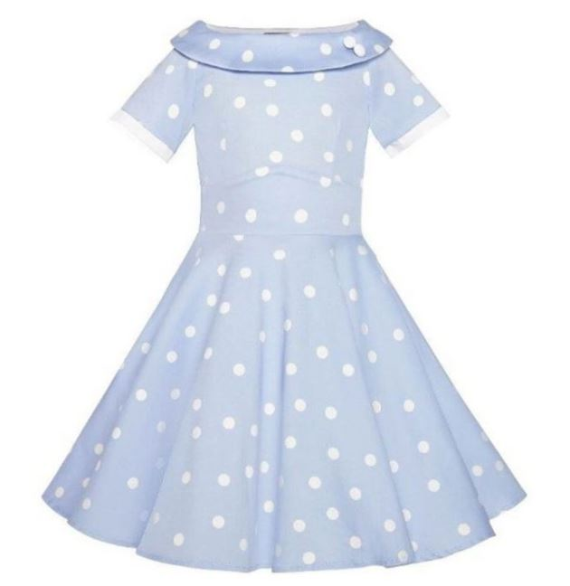 Darlene Kids Dress Blue White