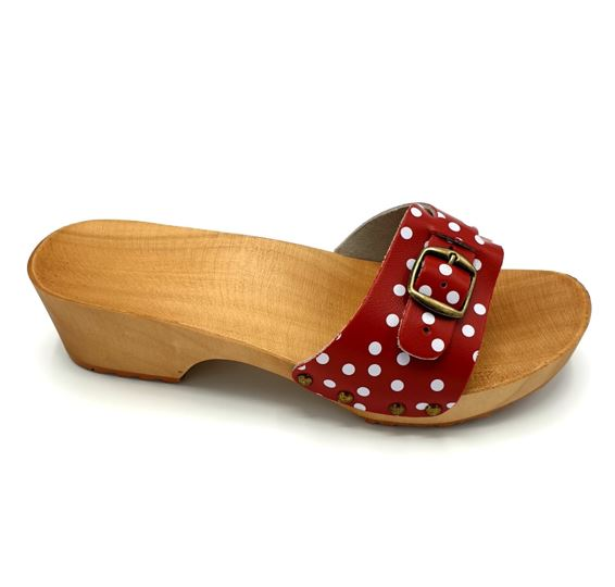 Dina Sandal Clogs Red Polka Dot