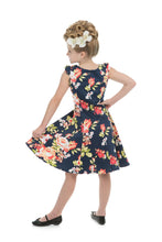 Load image into Gallery viewer, Navy Blue Floral Kids Dress