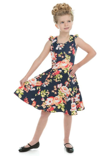 Navy Blue Floral Kids Dress