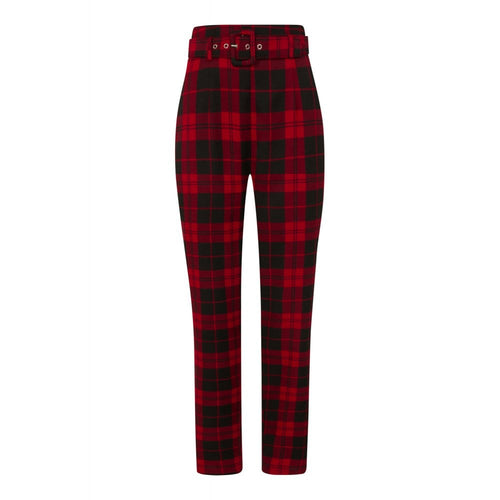 Red Rebel Check Trousers