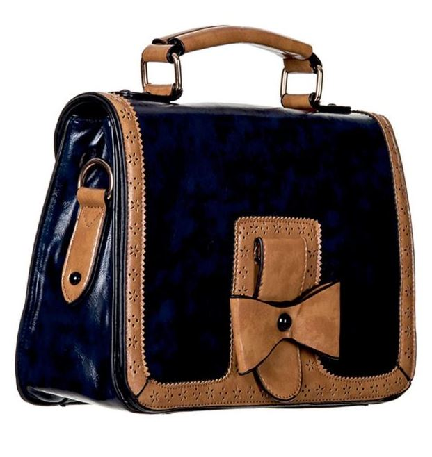 Bow Retro Handbag Dark Blue