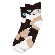 Load image into Gallery viewer, Bert Socks Brown Cat