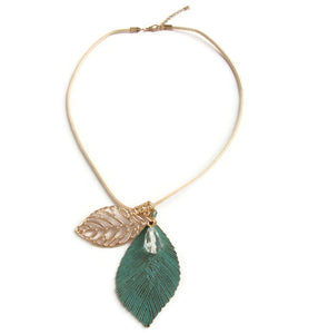 Green Leaf Necklace Gold