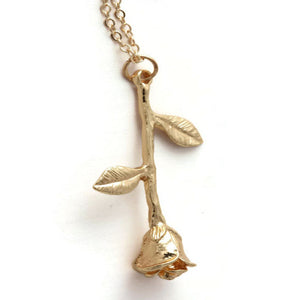Dangle Rose Necklace Gold