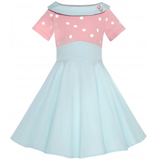 Darlene Kids Dress Pink Blue