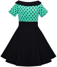 Load image into Gallery viewer, Darlene Kids Dress Turquoise Black