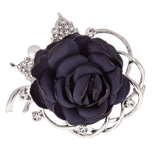 Fabric Navy Rose Brooch