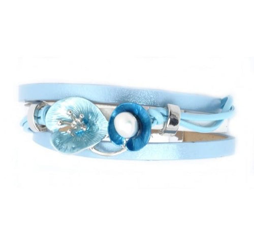 Lily Leather Bracelet Blue