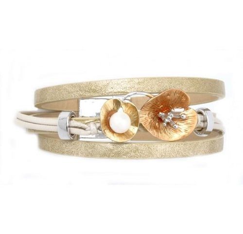 Lily Leather Bracelet Gold