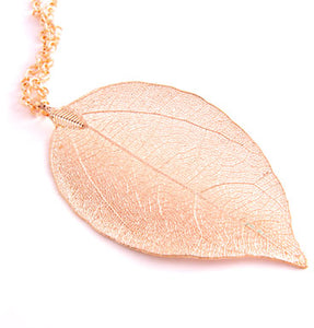 Leaf Necklace Loop Chain Gold