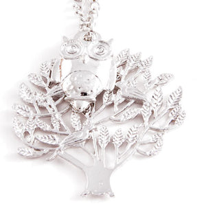 Tree Owl Necklace Silver