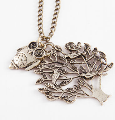 Tree Owl Necklace Gold