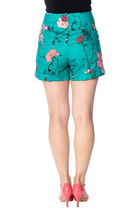 Peacock Button Shorts Blue