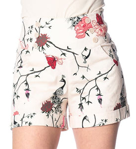 Peacock Button Shorts White