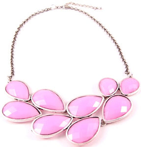 Pink Drop Cluster Necklace Pink
