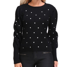 Load image into Gallery viewer, Polka Dot Sweater Black