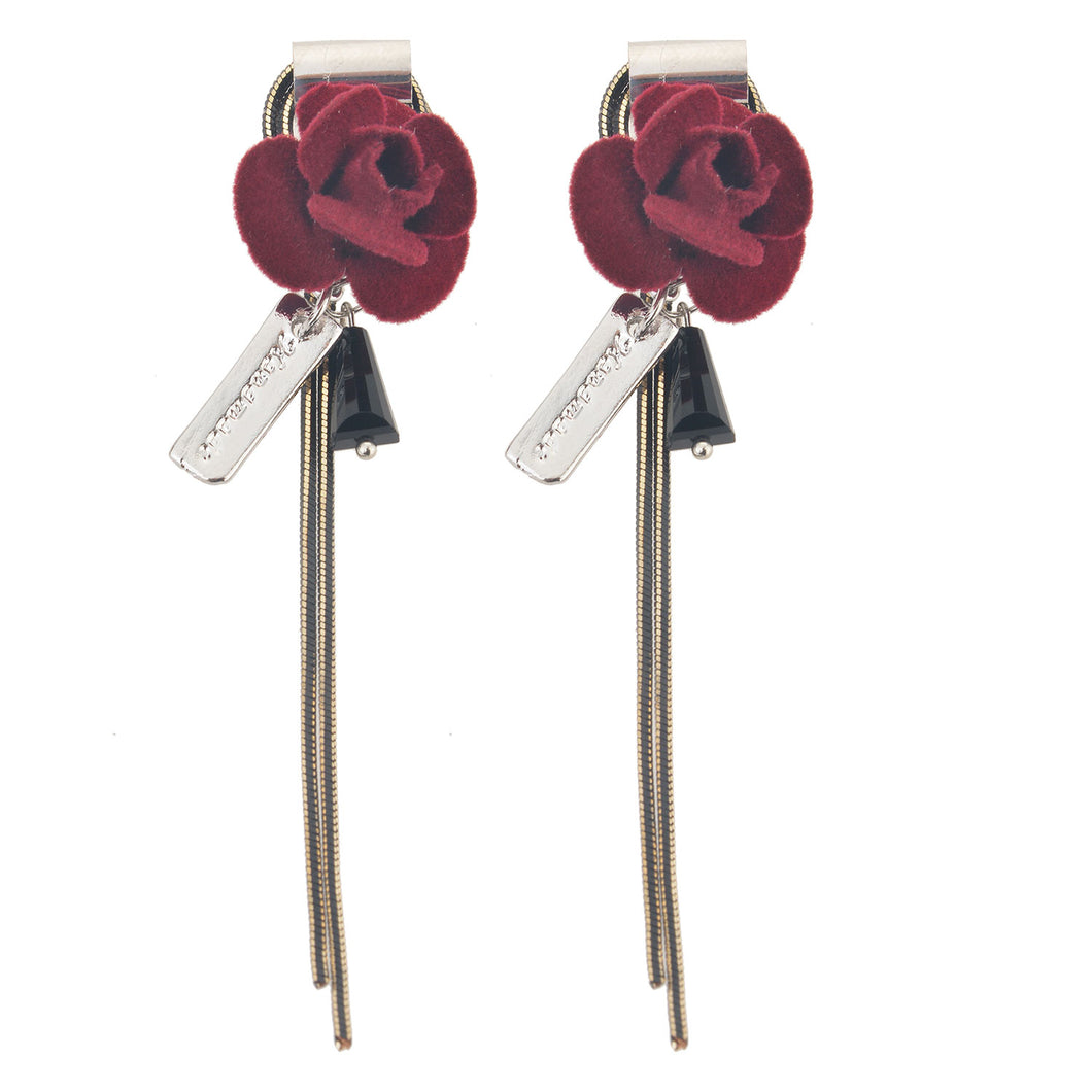 Red Rose Fabric Earrings