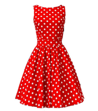 Load image into Gallery viewer, Red White Dot Dress