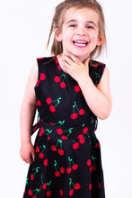 Load image into Gallery viewer, Retro Cherry Kids Dress Black