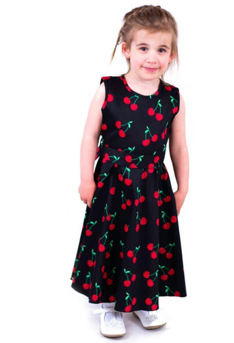 Retro Cherry Kids Dress Black