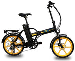 Ness Rua Electric Folding Bike BLACK with YELLOW WHEELS