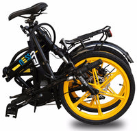 Folded Ness Rua Electric Folding Bike BLACK with YELLOW WHEELS
