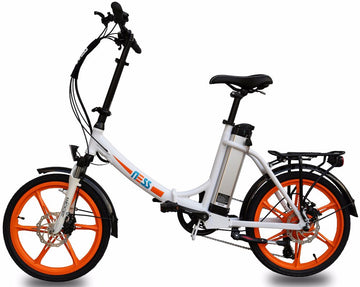Ness Icon Electric Folding Bike WHITE with ORANGE WHEELS
