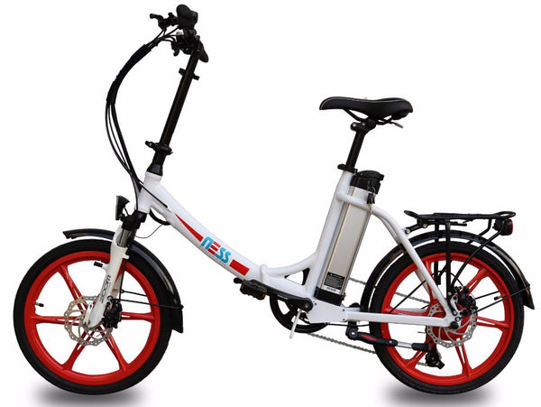 Ness Icon Electric Folding Bike WHITE with RED WHEELS