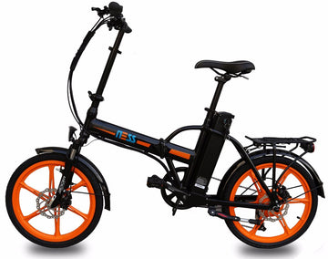 Ness Rua Electric Folding Bike BLACK with ORANGE WHEELS